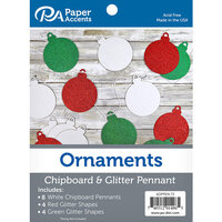 Paper Accents - Christmas - Chipboard and Glitter Pennant - Ornaments