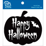 Paper Accents - Halloween - Chipboard Shapes - Happy Halloween Pumpkin - Black