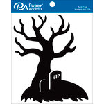 Paper Accents - Halloween - Chipboard Shapes - Tombstone Tree - Black