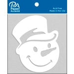 Paper Accents - Christmas - Chipboard Shapes - Snowman Face with Hat - White