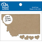Paper Accents - Chipboard Shapes - State of Montana with Heart
