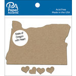 Paper Accents - Chipboard Shapes - State of Oregon with Heart