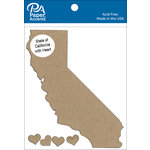 Paper Accents - Chipboard Shapes - State of California with Heart