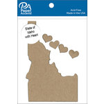 Paper Accents - Chipboard Shapes - State of Idaho with Heart