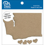 Paper Accents - Chipboard Shapes - State of Washington with Heart
