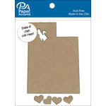 Paper Accents - Chipboard Shapes - State of Utah with Heart
