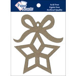 Paper Accents - Christmas - Chipboard Shapes - Ornament - Star with Bow