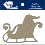 Paper Accents - Christmas - Chipboard Shapes - Sleigh with Santa