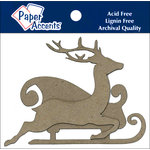 Paper Accents - Christmas - Chipboard Shapes - Sleigh with Reindeer