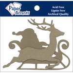 Paper Accents - Chipboard Shapes - Sleigh with Santa and Reindeer