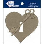 Paper Accents - Chipboard Shapes - Heart with Lock and Key