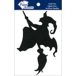 Paper Accents - Halloween - Chipboard Shapes - Witch on Broom - Black