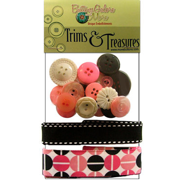 Buttons Galore - Trims and Treasures - Retro Pink