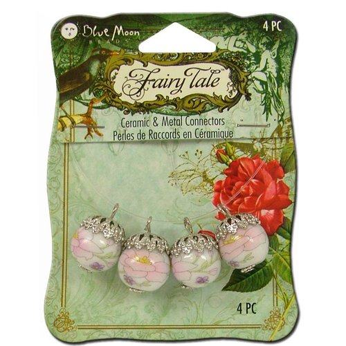 Blue Moon Beads - Fairy Tale - Ceramic and Metal Jewelry Connector - Flower - White