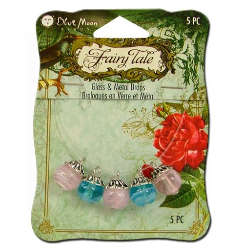 Blue Moon Beads - Fairy Tale - Glass and Metal Jewelry Drop - Round - Blue and Pink