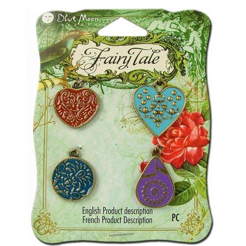 Blue Moon Beads - Fairy Tale - Metal Jewelry Charm - Enamel Assortment 1 - Ox Brass