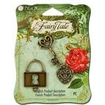 Blue Moon Beads - Fairy Tale - Metal Jewelry Charm - Key Heart Lock - Ox Gold