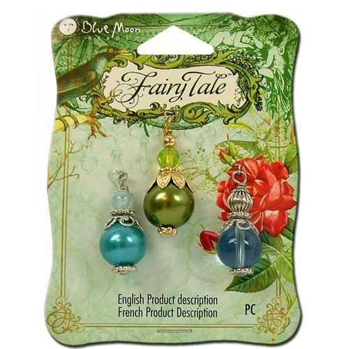Blue Moon Beads - Fairy Tale - Glass Metal and Plastic Jewelry Drop - Blue and Green