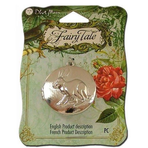 Blue Moon Beads - Fairy Tale - Metal Jewelry Locket - Round Rabbit 2 - Silver