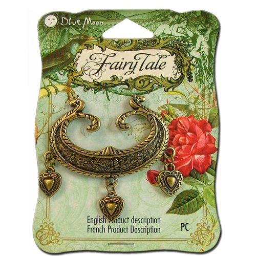 Blue Moon Beads - Fairy Tale - Metal Jewelry Pendant - Focal Heart Drop - Ox Brass