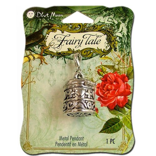 Blue Moon Beads - Fairy Tale - Metal Jewelry Pendant - Prayer Box - Silver