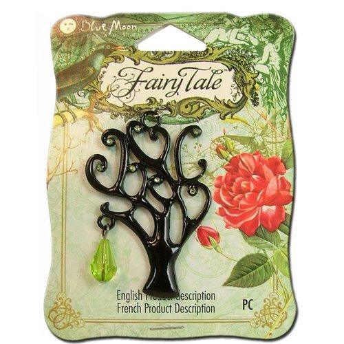 Blue Moon Beads - Fairy Tale - Metal Jewelry Pendant - Tree with Dangle - Black