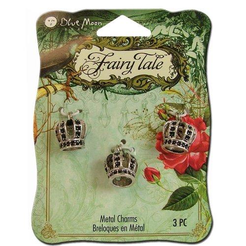 Blue Moon Beads - Fairy Tale - Metal Jewelry Charm - 3D Crown - Silver