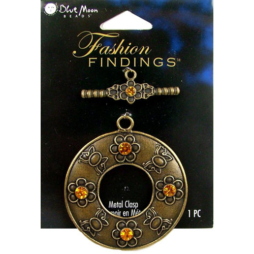 Blue Moon Beads - Fashion Findings - Metal Jewelry Clasp - Fancy Round Flower - Ox Brass