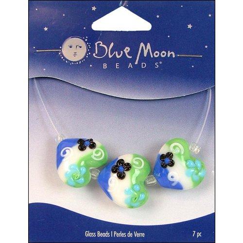 Blue Moon Beads - Art Glass - Jewelry Beads - Heart - Stripe - Flower - Multi 1