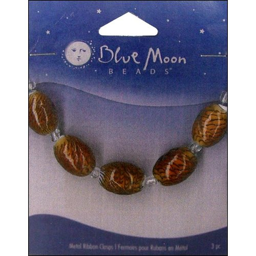 Blue Moon Beads - Art Glass - Jewelry Beads - Oval - Swirl - Tiger Stripe - Gold