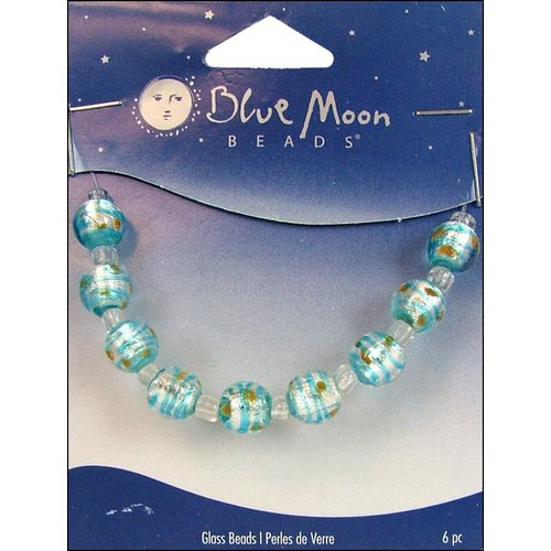 Blue Moon Beads - Art Glass - Jewelry Beads - Round - Swirl - Multi 1