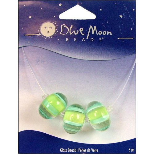 Blue Moon Beads - Art Glass - Jewelry Beads - Round - Stripe - Clear Green