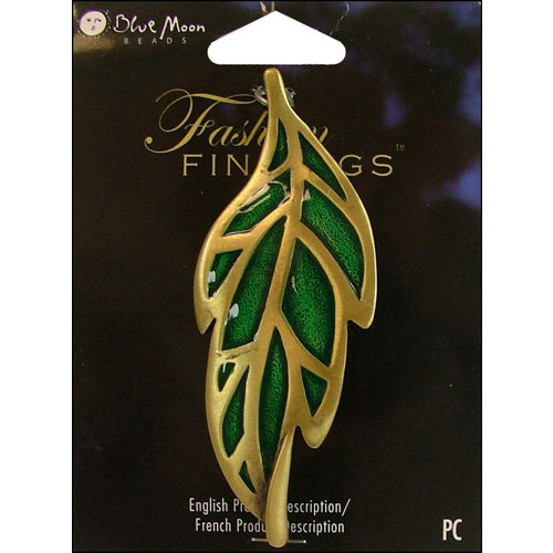 Blue Moon Beads - Fashion Findings - Metal Jewelry Pendant - Large Leaf Green - Ox Brass