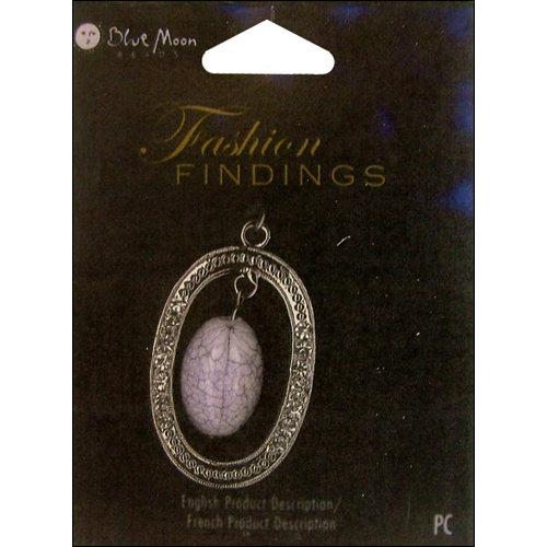 Blue Moon Beads - Fashion Findings - Metal Jewelry Pendant - Oval Drop Open - Silver