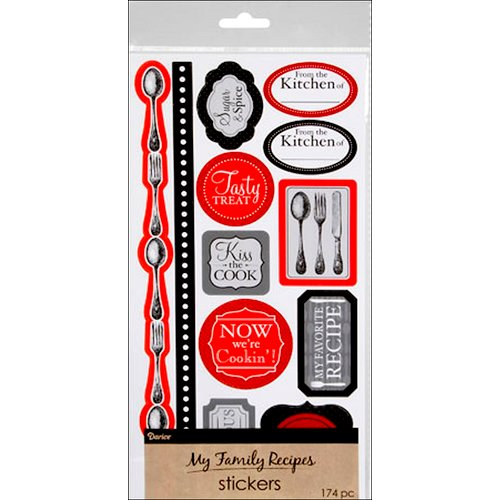 Darice - Stickers - Recipe - Cutlery - Black and Red