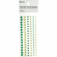 Darice - Bling Stickers - Rhinestone Round - Green