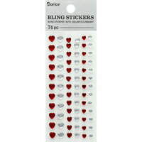 Darice - Bling Stickers - Heart - Clear and Red