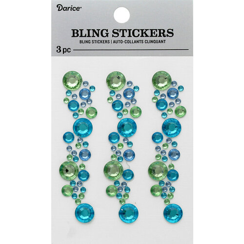 Darice - Bling Stickers - Blue, Green and Crystal