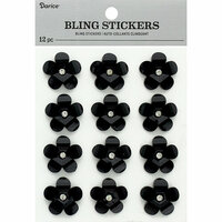 Darice - Bling Stickers - Flower - Black