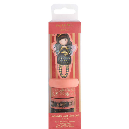 DoCrafts - Santoro Gorjuss - Craft Tape - Reel - Bee Loved with Foil Accents