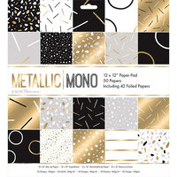 DoCrafts - Metallic Mono Collection - 12 x 12 Paper Pad with Foil Accents