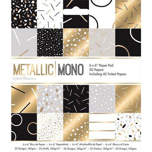 DoCrafts - Metallic Mono Collection - 6 x 6 Paper Pad with Foil Accents