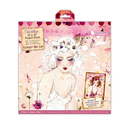 Santoro London - Willow - 12 x 12 Paper Pack with Glitter Accents
