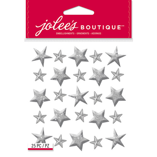 EK Success - Jolee's Boutique - Christmas - 3 Dimensional Stickers - Silver Stars Repeats