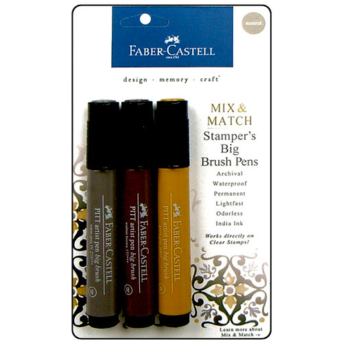 Faber-Castell - Mix and Match Collection - Stampers Big Brush Pens - Neutral - 3 Piece Set