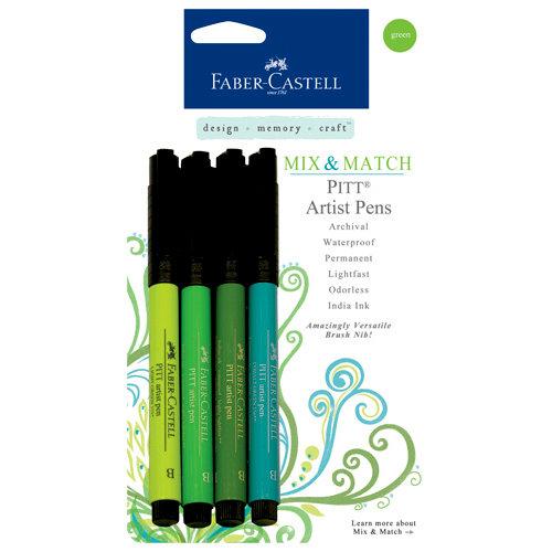 Faber-Castell - Mix and Match Collection - Pitt Artist Pens - Green - 4 Piece Set