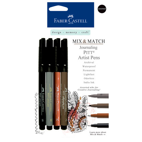 Faber-Castell - Mix and Match Collection - Pitt Artist Pens - Journaling - 4 Piece Set