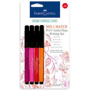 Faber-Castell Mix and Match Pitt Artist Pens Red and Yellow 4 Piece Set