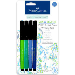 Faber-Castell Mix and Match Pitt Artist Pens Blue and Green 4 Piece Set