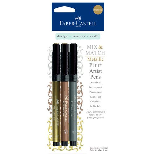 Faber-Castell - Mix and Match Collection - Pitt Artist Pens - Metallic - Classic - 3 Piece Set
